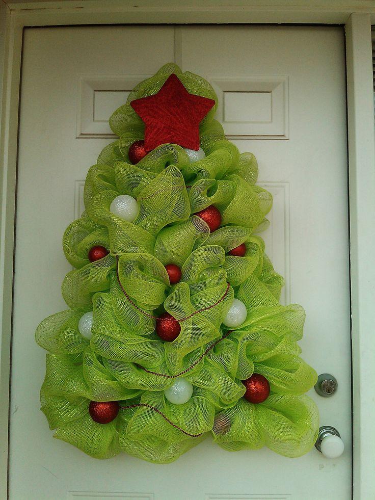 Large christmas tree wreath deco mesh holiday ideas - Guirnalda de navidad ...