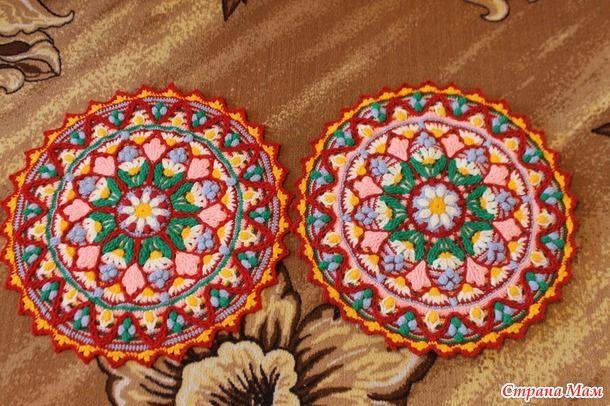 Совместное вязание коврика георгин