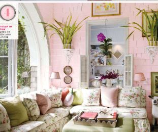 Pin by maureen cheddesingh on cottage decor pinterest for Pink and green living room ideas