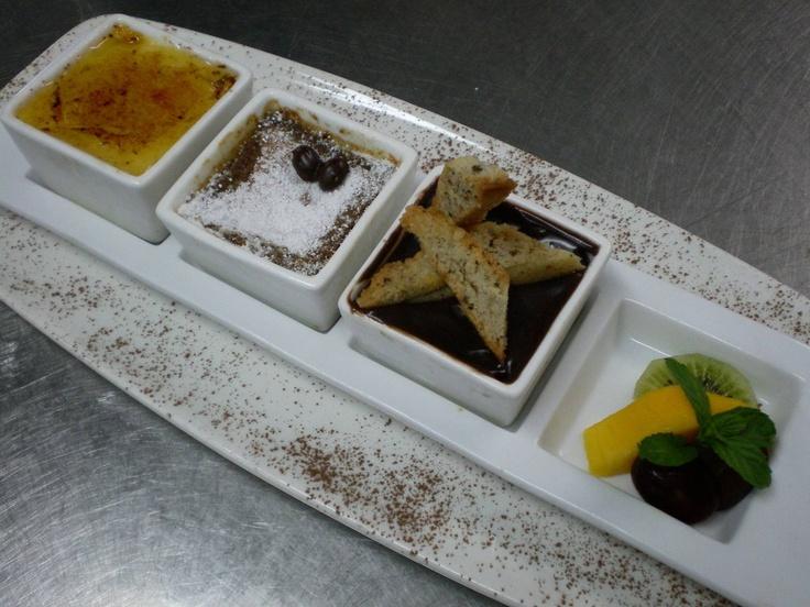 Trio of pot de Creme -- Passion, chocolate & blue mountain coffee. YUM ...