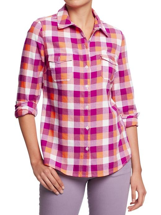 Womens flannel shirts old navy long sweater jacket for Womens navy plaid shirt