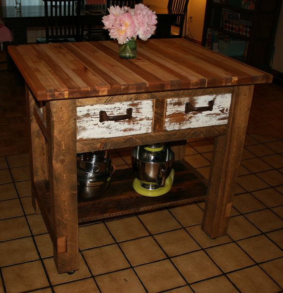Reclaimed Rustic Kitchen Island