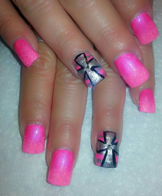 Pink with cross nail art | ~*Tips & Toes*~ | Pinterest