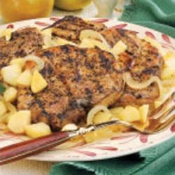Pork Chops with Apples, Onions, and Sweet Potatoes | Recipe