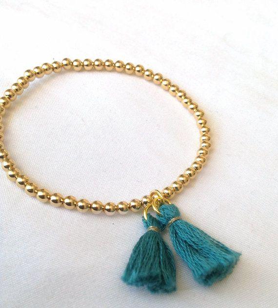 Gold bead tassel bracelet - Turquoise