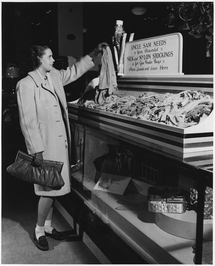 In 1942, women were asked to donate fully fashioned stockings for converting into powder bags, used to propel missile projectiles in US Navy Guns. Drop-off depots appeared everywhere.
