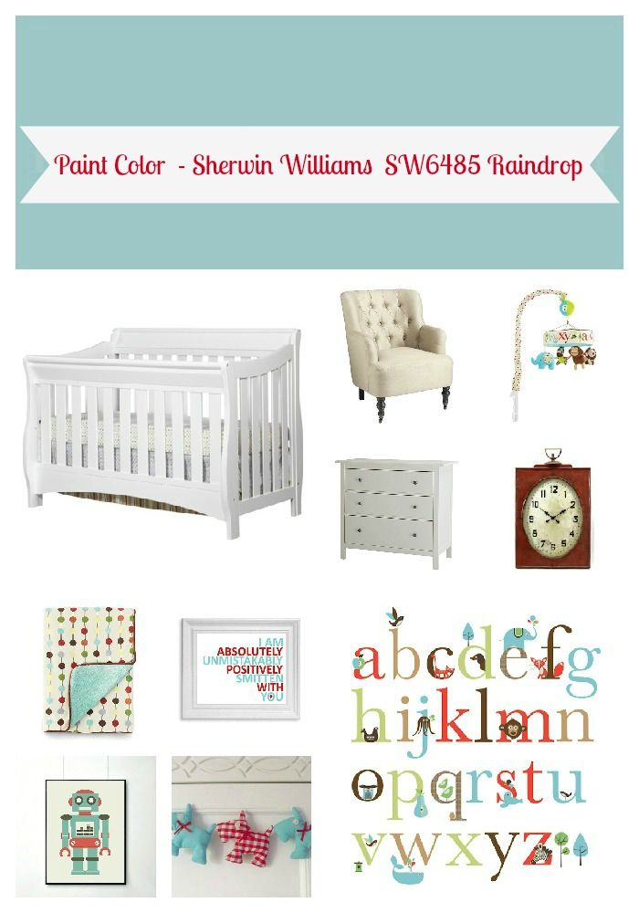 Unisex nursery red : Aqua and red gender neutral nursery  favorite places spaces pi ...