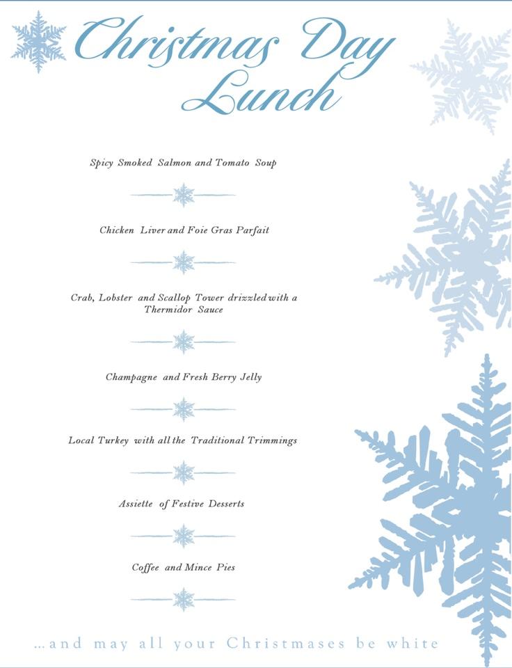 christmas day lunch menu christmas pinterest