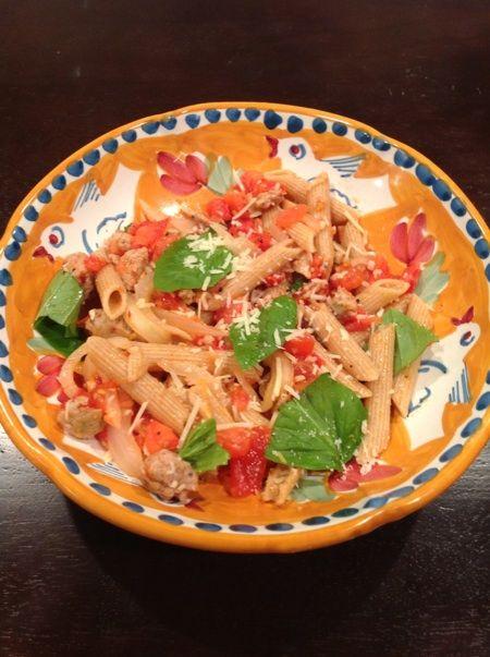 Fresh Tomato, Sausage, and Pecorino Pasta // Ellie Hickey