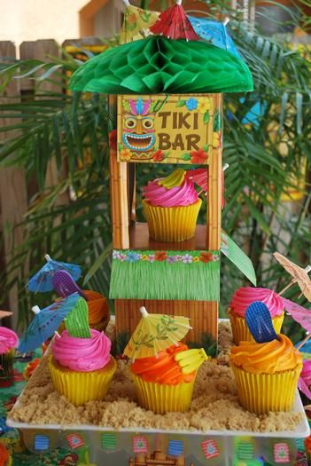 Summer is here! Time to party with some cute and easy luau cupcakes. Bet you could find some mini hula girls to put on top too. Rice crispy treat beach is genius.