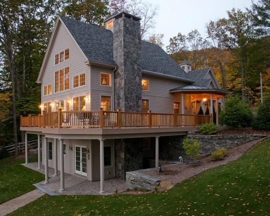 Basement entry and deck overlooking beautiful backyard