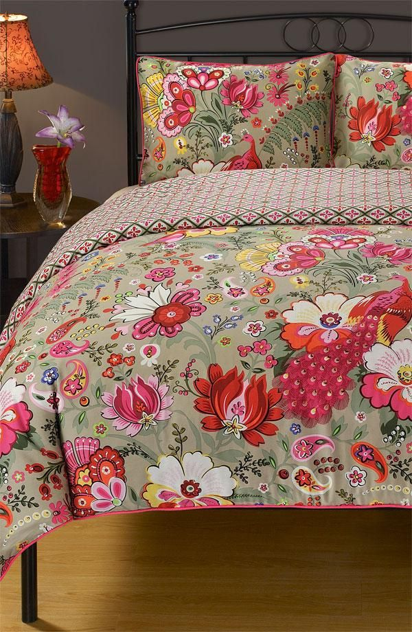 Bringing spring to bed! Love the floral and peacock print on this ...