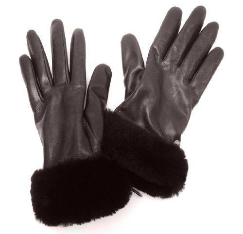 UGG Australia Shorty Short Leather Cashmere Gloves, Brown, Large