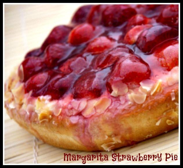 ... Margarita Pie with frozen strawberries & a graham cracker pie crust. #