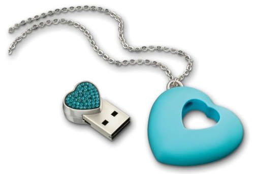 Computer storage. 4GB USB flash drive, in a crystal-embellished heart pendant, by (believe it or not) Swarovski ...