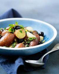 Herb-Roasted Potatoes with Lemon Sauce and Olives | Recipe