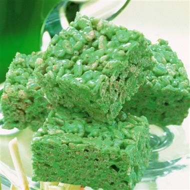 Green rice krispy treats   Yummo   Pinterest
