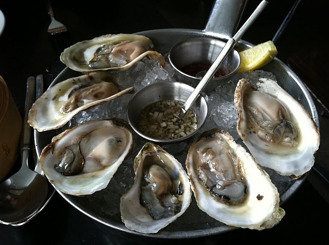 oysters served a mignonette and spicy cocktail sauce #seafood