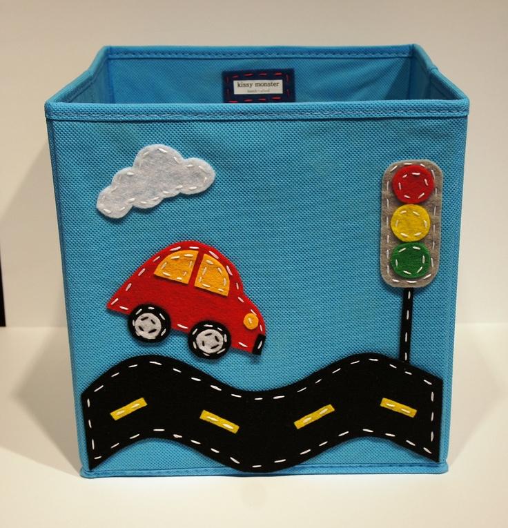 kids storage bin toy organizer boys room decor blue car