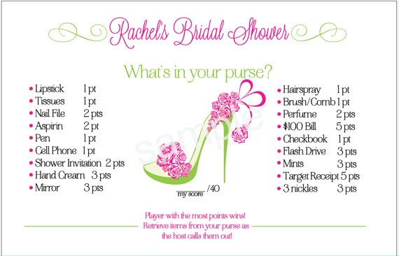 Bridal shower game what s in your purse pdf by camispaperie