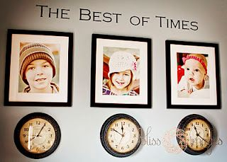 Love this idea! Photo of each kid with a clock below stopped at the time they were born.