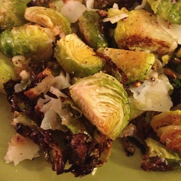 Baked brussels sprouts with shallots and parmesan