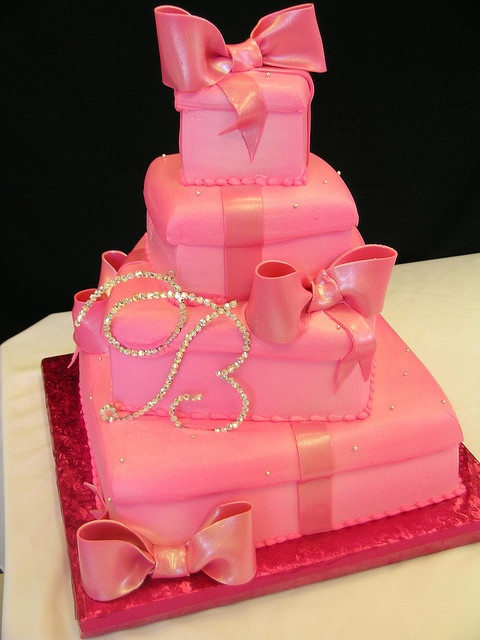 pink wedding cake boxes by Royalty_Cakes, via Flickr