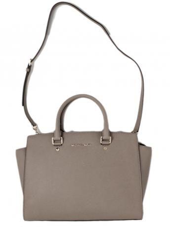michael kors selma dark dune satchel bag leather tote bag in sand. Black Bedroom Furniture Sets. Home Design Ideas