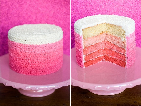 ombre valentine's day cake