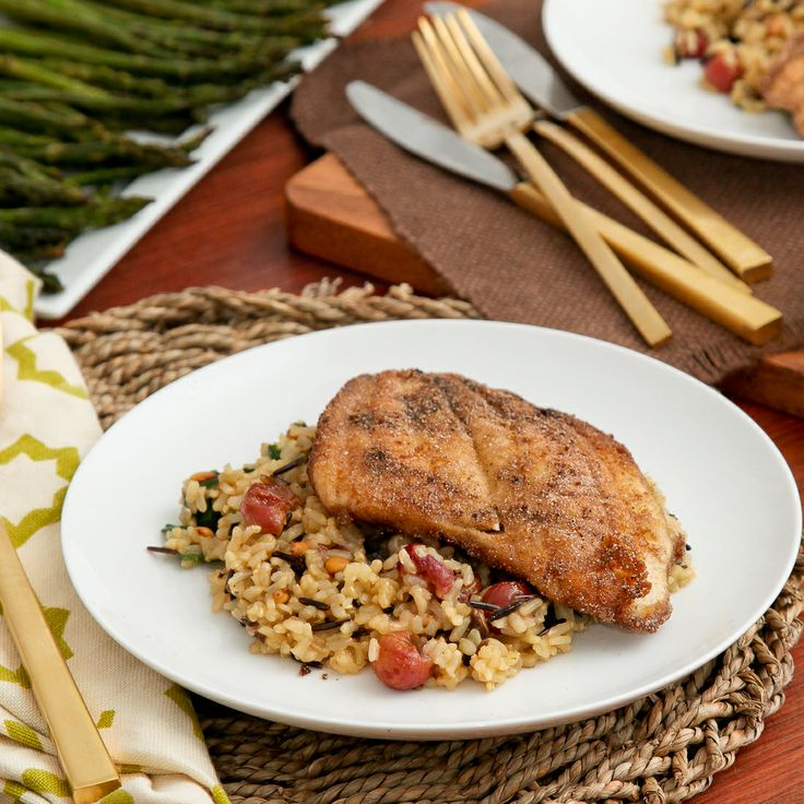 Pan-fried sole & mixed wild rice with roasted grapes (gluten-free)
