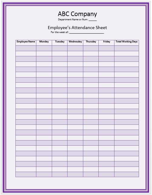 Sample Of Attendance Sheet For Employees  Blank Calendars
