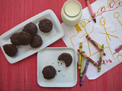 """Whole Wheat Double Chocolate Brownie Bites (""""Healthier"""" version!) o..."""