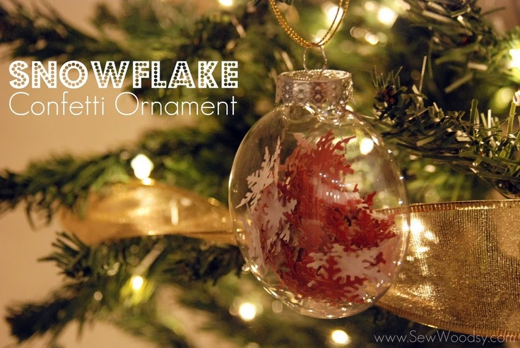 snowflake confetti ornament take a clear ornament and fill with punched out snowflakes - Christmas Tree Filler Decorations