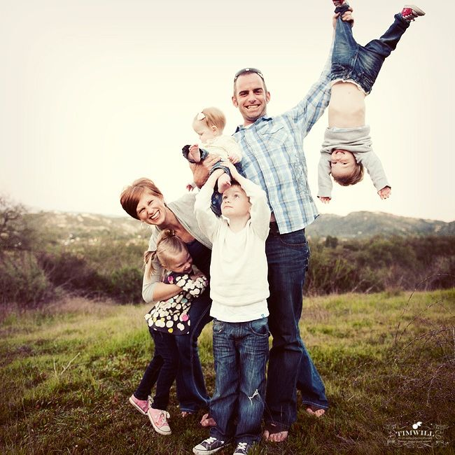 What a fun collection of ideas for a unique family photo- I love the kid hanging upside down in this one.
