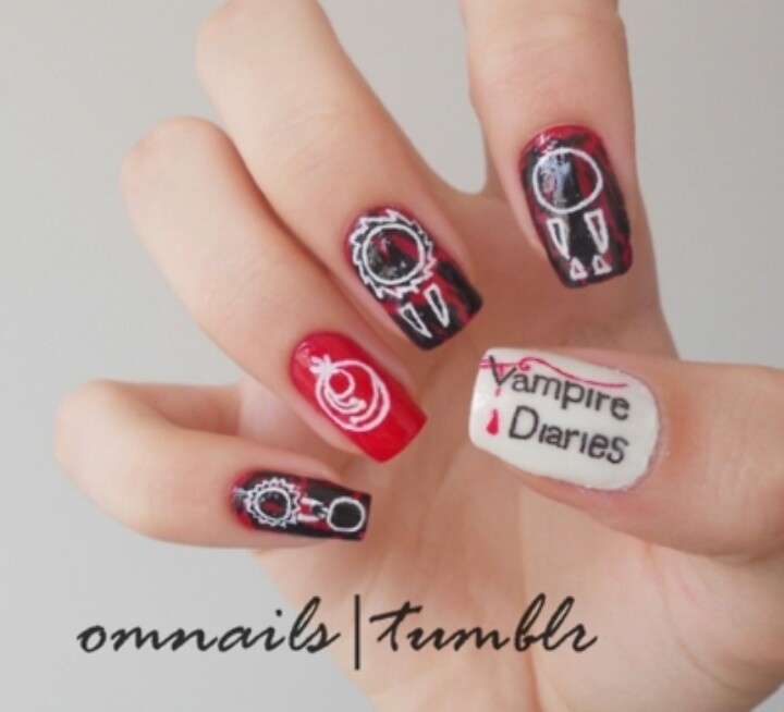 vampire diaries nails | Impossible nail art I will never do but I thi