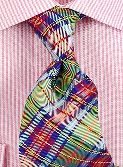 plaid tie on striped shirt my style