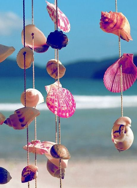diy sea shell wind chime sea surf sand and summer
