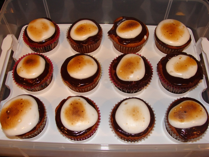 , graham cracker cupcake and chocolate ganache on top with a toasted ...