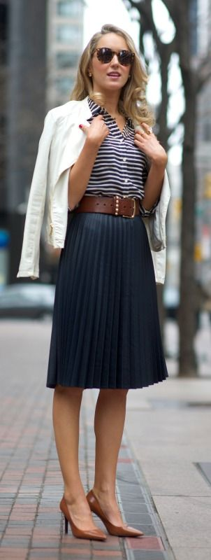 navy pleated midi skirt + striped shirt + white moto jacket