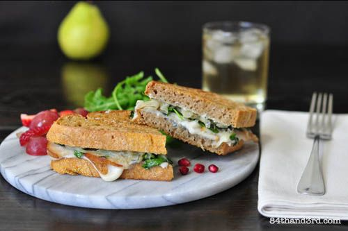 Pear, Goat Cheese and Caramelized Onion Jam Sandwich
