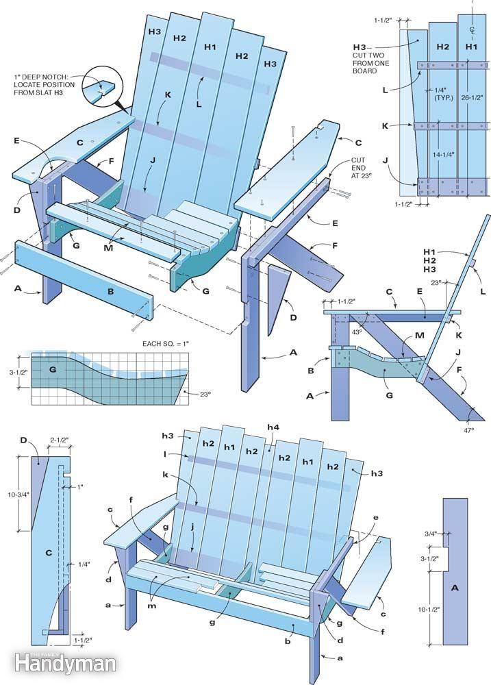 Кресло адирондак своими руками чертежи