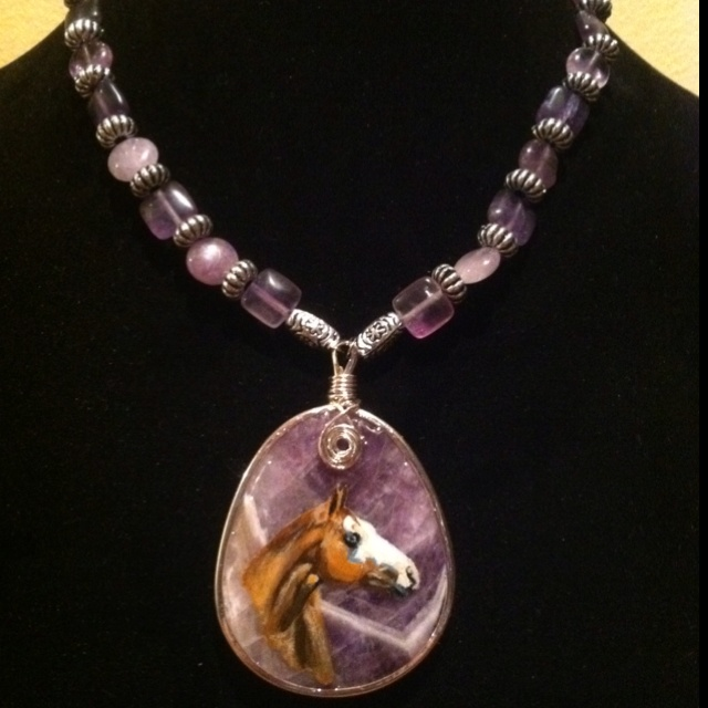 Necklace I made and pendant I painted