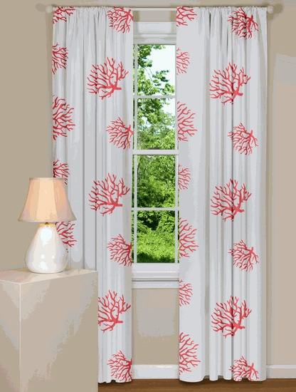 Coral And Navy Curtains Khaki and White Curtains