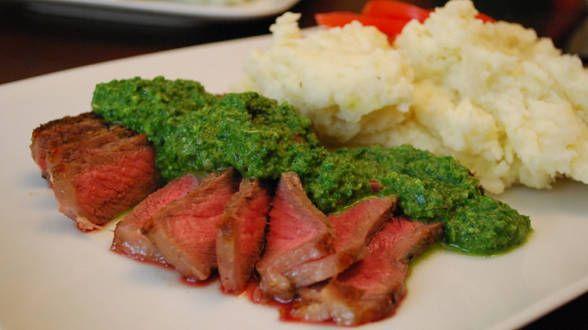 Sliced Steak with Arugula Chimichurri and Sassy Mashed Potatoes and ...
