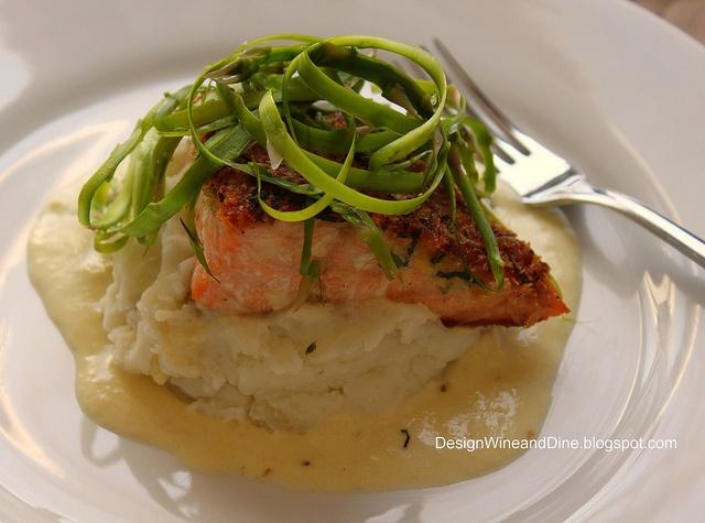 Panko-Crusted Salmon with Leek and Lemon Cream, Mashed Potatoes and ...