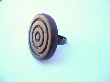 Brown Wood Mod Vintage Recycled Button ring by spankyluvsvintage2 for $10.00