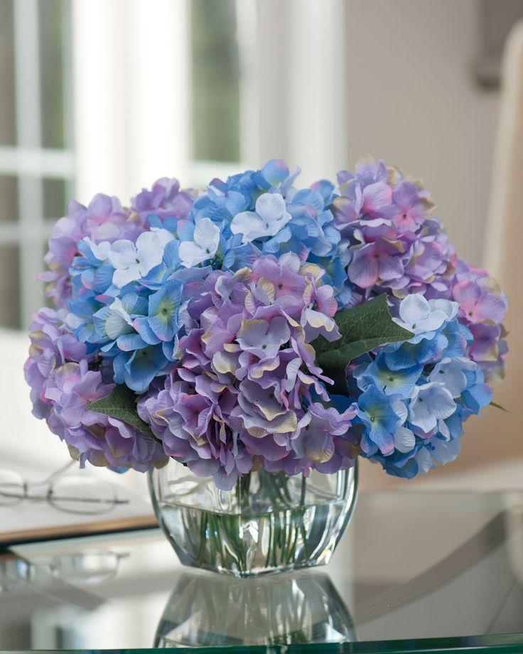 Hydrangea silk centerpiece lavender blue