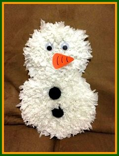 Tissue paper snowman craft for Snowman pocket tissues