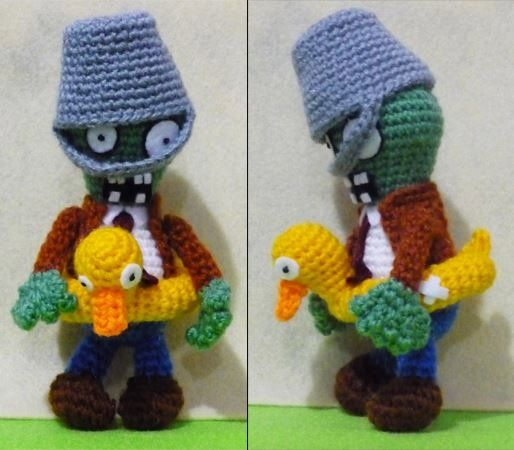 Crochet Ducky Tube Buckethead Zombie Amigurumi- Finish Doll