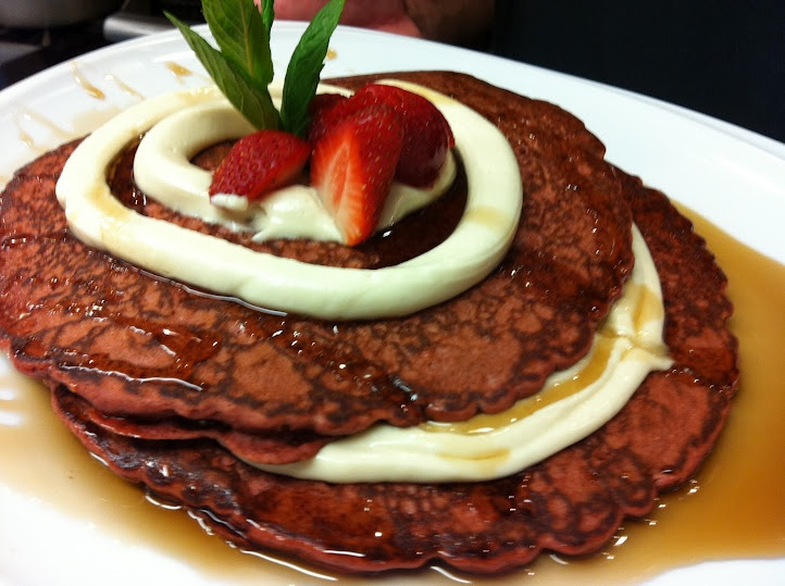 pancakes layered with light sweet kahlua cream cheese topped with ...